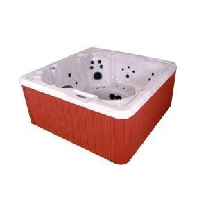 QCA Spas Cypress Silver Marble 8 Person, 40 Jet Spa with 4 HP Pump, Features an LED Light, and a Dura-Frame Cabinet