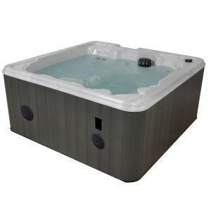 QCA Spas Sardinia Silver Marble 7 Person Lounger Spa with 31 Stainless Steel Jets, 4 HP Pump, LED Light and IPOD Stereo System