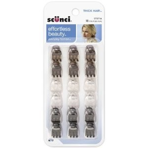 Scunci Effortless Beauty Thick Hair Mini Jaw Clips, 1 cm, 18-Count
