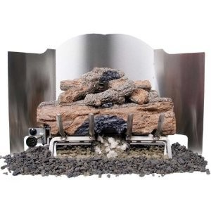 Peterson Gas Logs 24 Inch 3-fold Traditional Stainless Steel Fireback